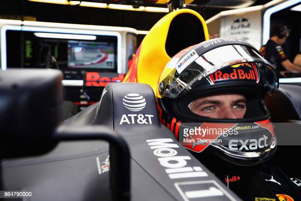 Max Verstappen of Netherlands and Red Bull Racing prepares to drive in the garage during qualifying for the United States Formula One Grand Prix at...