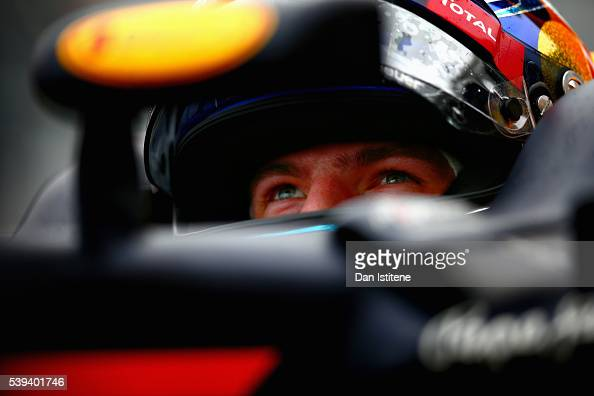 Max Verstappen of Netherlands and Red Bull Racing sits in his car in the garage during final practice ahead of the Canadian Formula One Grand Prix at...