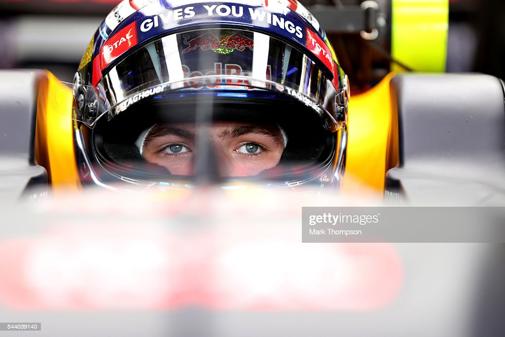 <a gi-track='captionPersonalityLinkClicked' href=/galleries/search?phrase=Max+Verstappen&family=editorial&specificpeople=12813205 ng-click='$event.stopPropagation()'>Max Verstappen</a> of Netherlands and Red Bull Racing sits in his car in the garage during practice for the Formula One Grand Prix of Austria at Red Bull Ring on July 1, 2016 in Spielberg, Austria.