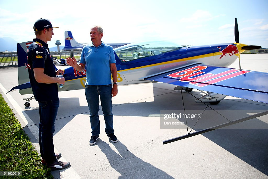 <a gi-track='captionPersonalityLinkClicked' href=/galleries/search?phrase=Max+Verstappen&family=editorial&specificpeople=12813205 ng-click='$event.stopPropagation()'>Max Verstappen</a> of Netherlands and Red Bull Racing speaks with Red Bull Racing Team Consultant Dr <a gi-track='captionPersonalityLinkClicked' href=/galleries/search?phrase=Helmut+Marko&family=editorial&specificpeople=1692282 ng-click='$event.stopPropagation()'>Helmut Marko</a> after a Red Bull Racing media flight to Hangar 7 on June 29, 2016 in Salzburg, Austria.