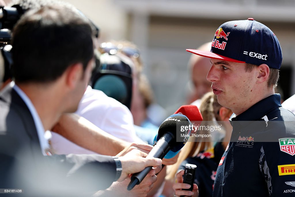 Max Verstappen of Netherlands and Red Bull Racing talks to the press in the Paddock during previews to the Monaco Formula One Grand Prix at Circuit de Monaco on May 25, 2016 in Monte-Carlo, Monaco.
