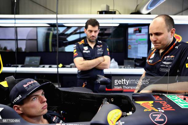 Max Verstappen of Netherlands and Red Bull Racing talks with Guillaume Rocquelin Head of Race Engineering at Red Bull Racing and race engineer...