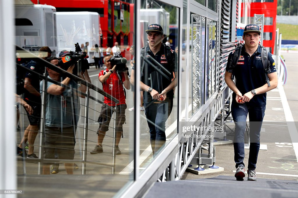 <a gi-track='captionPersonalityLinkClicked' href=/galleries/search?phrase=Max+Verstappen&family=editorial&specificpeople=12813205 ng-click='$event.stopPropagation()'>Max Verstappen</a> of Netherlands and Red Bull Racing walks in the Paddock during previews ahead of the Formula One Grand Prix of Austria at Red Bull Ring on June 30, 2016 in Spielberg, Austria.