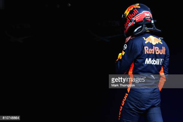 Max Verstappen of Netherlands and Red Bull Racing walks into parc ferme during qualifying for the Formula One Grand Prix of Austria at Red Bull Ring...