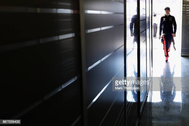 Max Verstappen of Netherlands and Red Bull Racing walks into the garage before qualifying for the Formula One Grand Prix of Mexico at Autodromo...