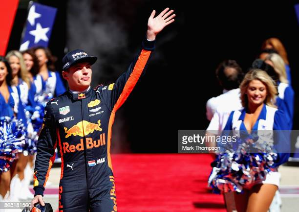 Max Verstappen of Netherlands and Red Bull Racing waves to the crowd before the United States Formula One Grand Prix at Circuit of The Americas on...
