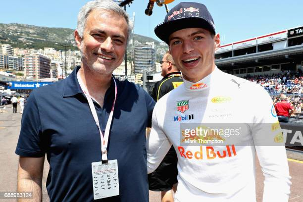 Max Verstappen of Netherlands and Red Bull Racing with Manchester United manager Jose Mourinho of Portugal before qualifying for the Monaco Formula...