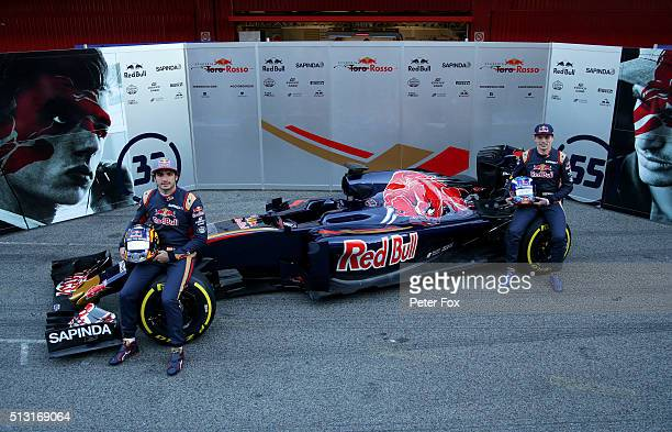 Max Verstappen of Netherlands and Scuderia Toro Rosso and Carlos Sainz of Spain and Scuderia Toro Rosso pose during the Scuderia Toro Rosso STR11...