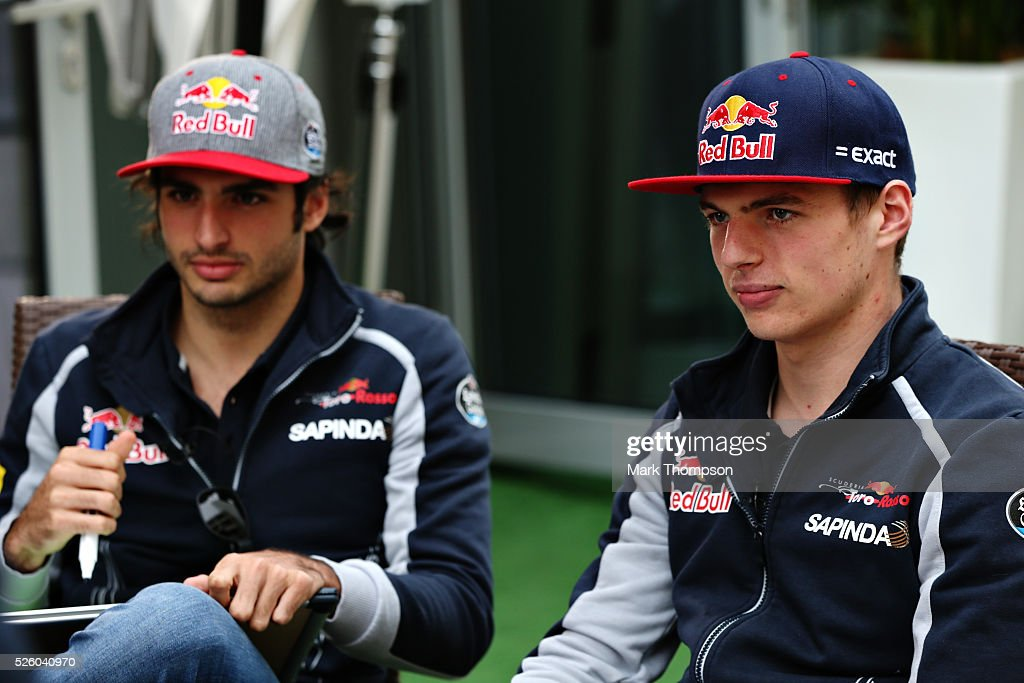 <a gi-track='captionPersonalityLinkClicked' href=/galleries/search?phrase=Max+Verstappen&family=editorial&specificpeople=12813205 ng-click='$event.stopPropagation()'>Max Verstappen</a> of Netherlands and Scuderia Toro Rosso and Carlos Sainz of Spain and Scuderia Toro Rosso in the Paddock during practice for the Formula One Grand Prix of Russia at Sochi Autodrom on April 29, 2016 in Sochi, Russia.