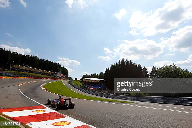 Max Verstappen of Netherlands and Scuderia Toro Rosso drives during practice for the Formula One Grand Prix of Belgium at Circuit de SpaFrancorchamps...