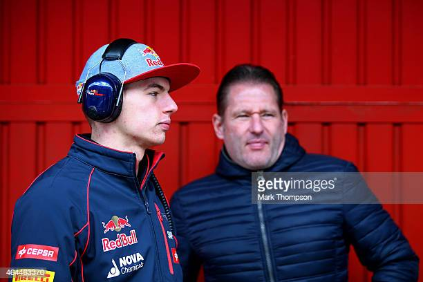 Max Verstappen of Netherlands and Scuderia Toro Rosso speaks with his father Jos Verstappen in the team garage during day one of the final Formula...