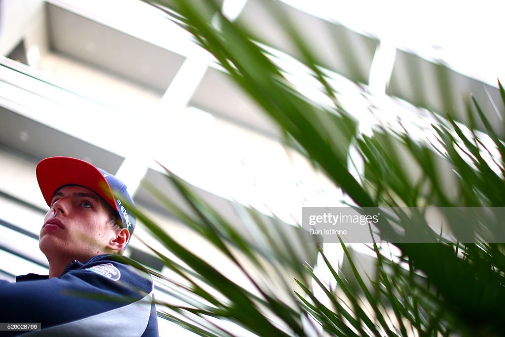 <a gi-track='captionPersonalityLinkClicked' href=/galleries/search?phrase=Max+Verstappen&family=editorial&specificpeople=12813205 ng-click='$event.stopPropagation()'>Max Verstappen</a> of Netherlands and Scuderia Toro Rosso speaks with members of the media in the paddock after practice for the Formula One Grand Prix of Russia at Sochi Autodrom on April 29, 2016 in Sochi, Russia.