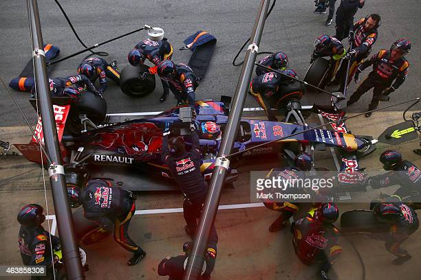Max Verstappen of Netherlands and Scuderia Toro Rosso stops at the team garage for a tyre change during day one of Formula One Winter Testing at...