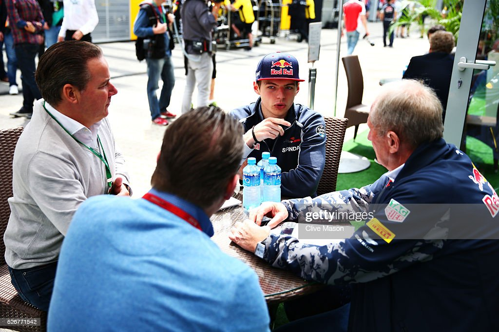 Max Verstappen of Netherlands and Scuderia Toro Rosso talks with father Jos Verstappen, and Red Bull Racing Team Consultant Dr Helmut Marko in the Paddock ahead of the Formula One Grand Prix of Russia at Sochi Autodrom on May 1, 2016 in Sochi, Russia.