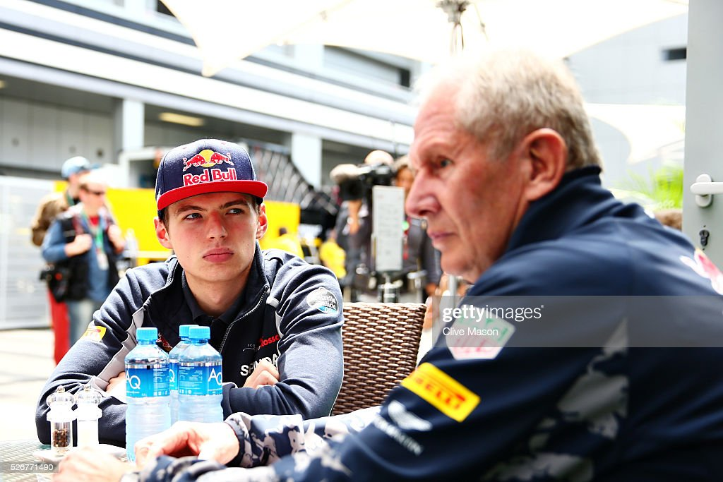 Max Verstappen of Netherlands and Scuderia Toro Rosso talks with Red Bull Racing Team Consultant Dr Helmut Marko in the Paddock ahead of the Formula One Grand Prix of Russia at Sochi Autodrom on May 1, 2016 in Sochi, Russia.