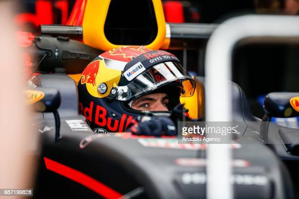 Max Verstappen of Netherlands driving for Red Bull Racing exits pit lane on Friday Free Practice during the 2017 Rolex Australian Formula 1 Grand...