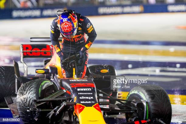 Max Verstappen of Red Bull Racing and The Netherlands during the Formula One Grand Prix of Singapore at Marina Bay Street Circuit on September 17...