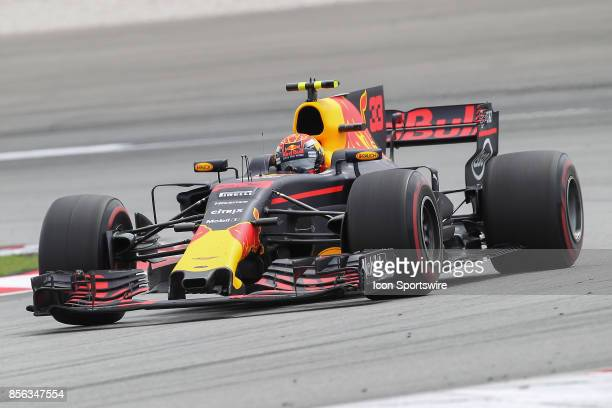 Max Verstappen of Red Bull Racing in action during the race of the Formula 1 Petronas Malaysia Grand Prix held at Sepang International Circuit in...