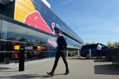 Max Verstappen of the Netherlands and Red Bull Racing arrives at the Red Bull Racing Factory on May 5 2016 at the Red Bull Racing Factory Milton...