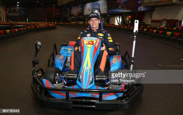 Max Verstappen of the Netherlands and Red Bull Racing attends a karting event during previews to the Formula One Grand Prix of China at Shanghai...