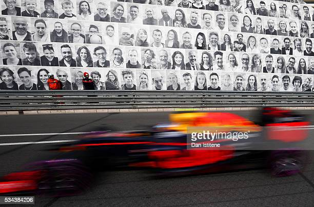 Max Verstappen of the Netherlands drives the 6 Red Bull Racing Red BullTAG Heuer RB12 TAG Heuer during practice for the Monaco Formula One Grand Prix...