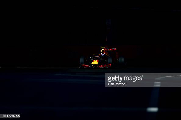 Max Verstappen of the Netherlands drives the 6 Red Bull Racing Red BullTAG Heuer RB12 TAG Heuer during the European Formula One Grand Prix at Baku...