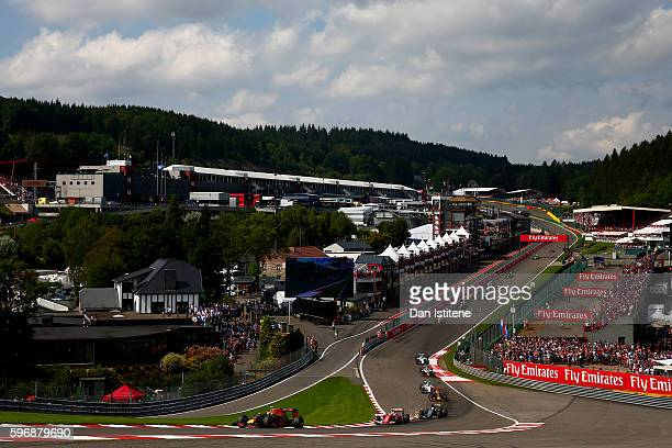 Max Verstappen of the Netherlands drives the 6 Red Bull Racing Red BullTAG Heuer RB12 TAG Heuer during the Formula One Grand Prix of Belgium at...