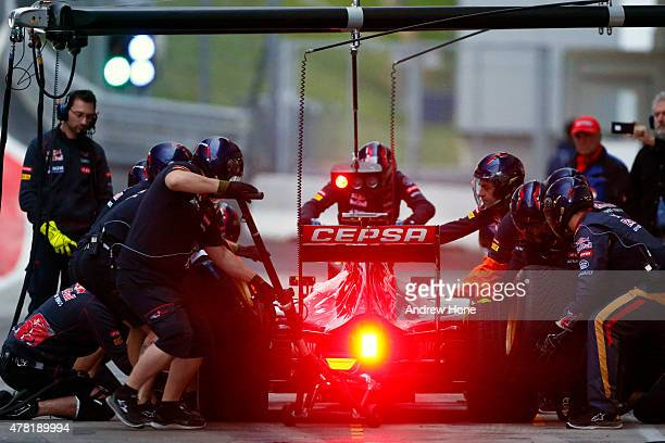 Max Verstappen of the Netherlands drives the Scuderia Toro Rosso during Formula One testing at the Red Bull Ring on June 23 2015 in Spielberg Austria