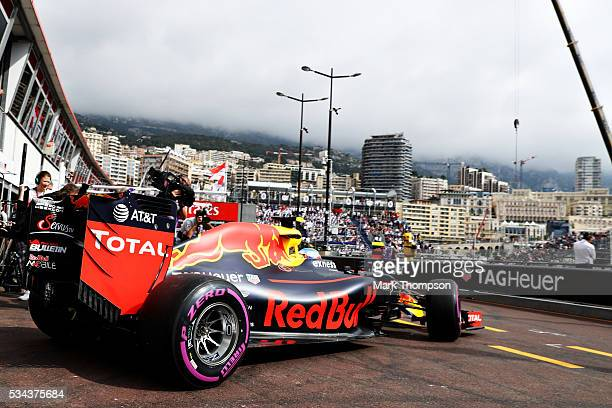 Max Verstappen of the Netherlands driving the Red Bull Racing Red BullTAG Heuer RB12 TAG Heuer leaves the pits during practice for the Monaco Formula...