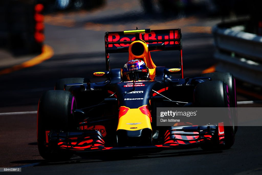 <a gi-track='captionPersonalityLinkClicked' href=/galleries/search?phrase=Max+Verstappen&family=editorial&specificpeople=12813205 ng-click='$event.stopPropagation()'>Max Verstappen</a> of the Netherlands driving the (33) Red Bull Racing Red Bull-TAG Heuer RB12 TAG Heuer on track during practice for the Monaco Formula One Grand Prix at Circuit de Monaco on May 26, 2016 in Monte-Carlo, Monaco.
