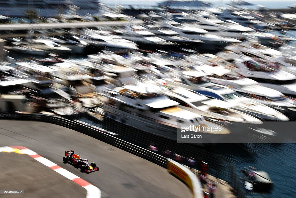 Max Verstappen of the Netherlands driving the (33) Red Bull Racing Red Bull-TAG Heuer RB12 TAG Heuer on track during final practice ahead of the Monaco Formula One Grand Prix at Circuit de Monaco on May 28, 2016 in Monte-Carlo, Monaco.