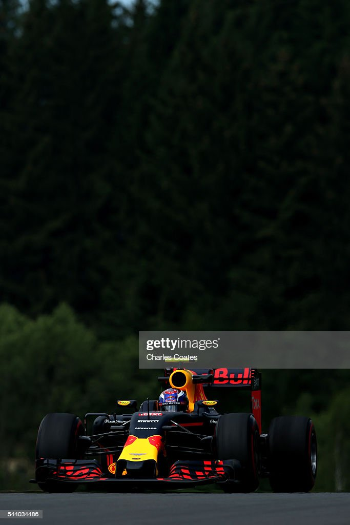 <a gi-track='captionPersonalityLinkClicked' href=/galleries/search?phrase=Max+Verstappen&family=editorial&specificpeople=12813205 ng-click='$event.stopPropagation()'>Max Verstappen</a> of the Netherlands driving the (33) Red Bull Racing Red Bull-TAG Heuer RB12 TAG Heuer on track during practice for the Formula One Grand Prix of Austria at Red Bull Ring on July 1, 2016 in Spielberg, Austria.