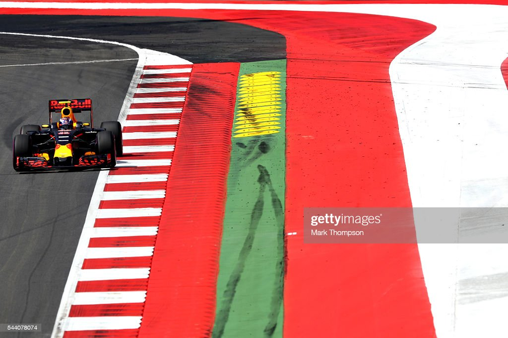 Max Verstappen of the Netherlands driving the (33) Red Bull Racing Red Bull-TAG Heuer RB12 TAG Heuer on track during practice for the Formula One Grand Prix of Austria at Red Bull Ring on July 1, 2016 in Spielberg, Austria.