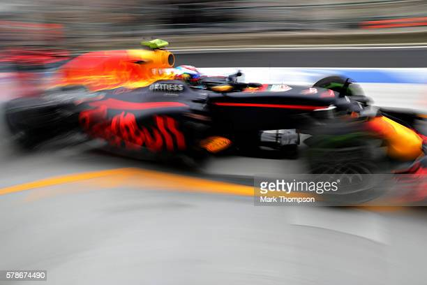 Max Verstappen of the Netherlands driving the Red Bull Racing Red BullTAG Heuer RB12 TAG Heuer in the Pitlane during practice for the Formula One...