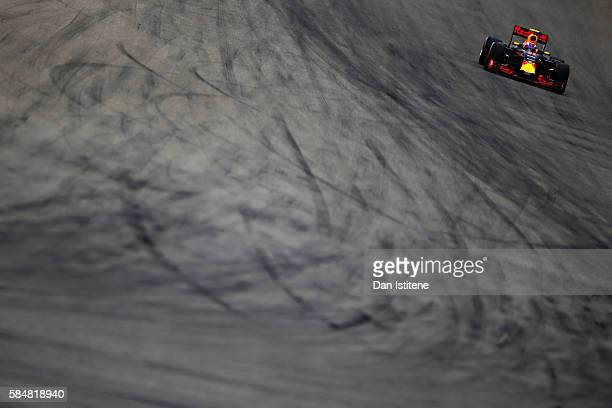 Max Verstappen of the Netherlands driving the Red Bull Racing Red BullTAG Heuer RB12 TAG Heuer on track during the Formula One Grand Prix of Germany...