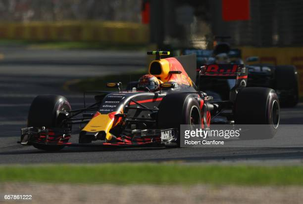 Max Verstappen of the Netherlands driving the Red Bull Racing Red BullTAG Heuer RB13 TAG Heuer on track during the Australian Formula One Grand Prix...