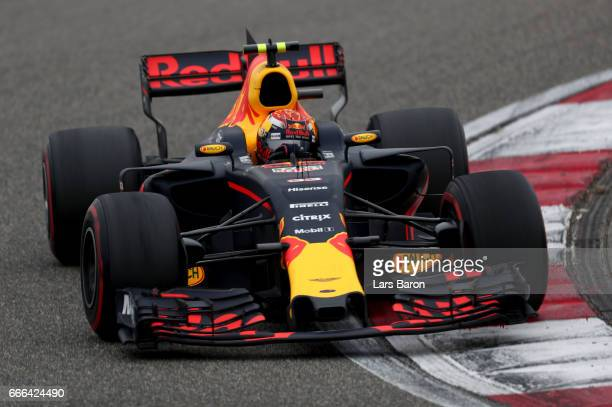 Max Verstappen of the Netherlands driving the Red Bull Racing Red BullTAG Heuer RB13 TAG Heuer on track during the Formula One Grand Prix of China at...