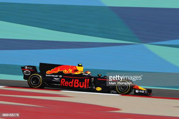 Max Verstappen of the Netherlands driving the Red Bull Racing Red BullTAG Heuer RB13 TAG Heuer on track during practice for the Bahrain Formula One...