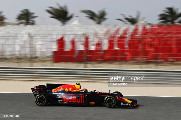 Max Verstappen of the Netherlands driving the Red Bull Racing Red BullTAG Heuer RB13 TAG Heuer on track during final practice for the Bahrain Formula...