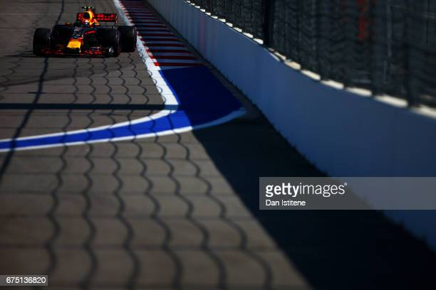 Max Verstappen of the Netherlands driving the Red Bull Racing Red BullTAG Heuer RB13 TAG Heuer on trackduring the Formula One Grand Prix of Russia on...