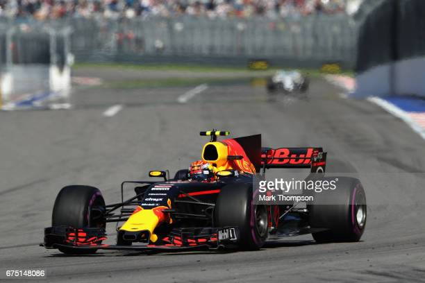 Max Verstappen of the Netherlands driving the Red Bull Racing Red BullTAG Heuer RB13 TAG Heuer on track during the Formula One Grand Prix of Russia...