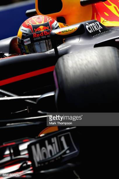 Max Verstappen of the Netherlands driving the Red Bull Racing Red BullTAG Heuer RB13 TAG Heuer on track during practice for the Monaco Formula One...