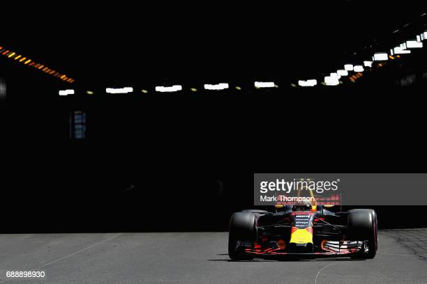 Max Verstappen of the Netherlands driving the Red Bull Racing Red BullTAG Heuer RB13 TAG Heuer on track during final practice for the Monaco Formula...