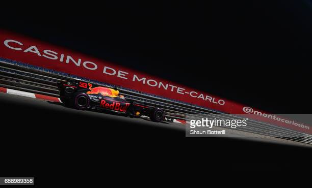 Max Verstappen of the Netherlands driving the Red Bull Racing Red BullTAG Heuer RB13 TAG Heuer on track during qualifying for the Monaco Formula One...