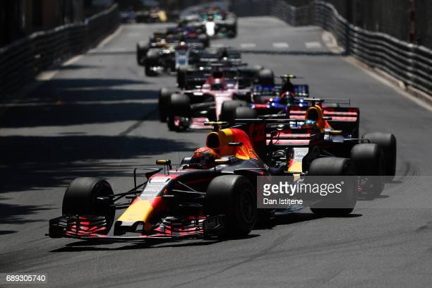 Max Verstappen of the Netherlands driving the Red Bull Racing Red BullTAG Heuer RB13 TAG Heuer in action during the Monaco Formula One Grand Prix at...