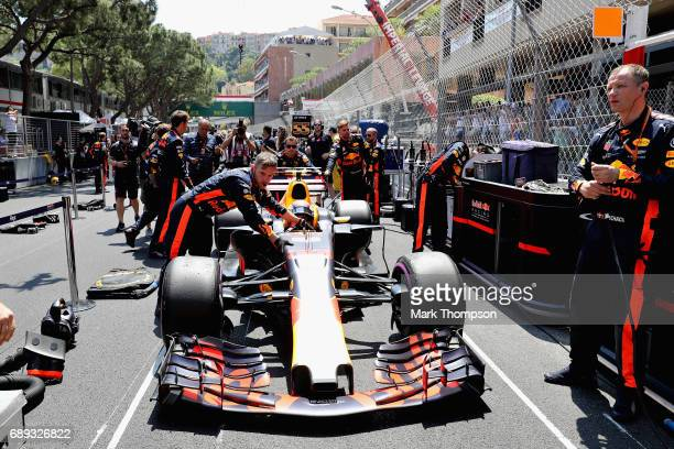 Max Verstappen of the Netherlands driving the Red Bull Racing Red BullTAG Heuer RB13 TAG Heuer on the grid during the Monaco Formula One Grand Prix...