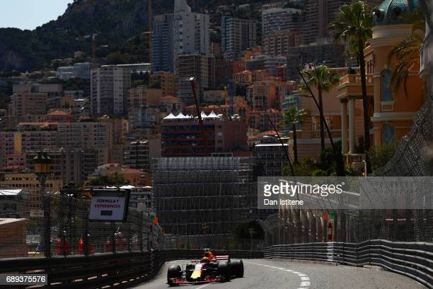 Max Verstappen of the Netherlands driving the Red Bull Racing Red BullTAG Heuer RB13 TAG Heuer on track during the Monaco Formula One Grand Prix at...