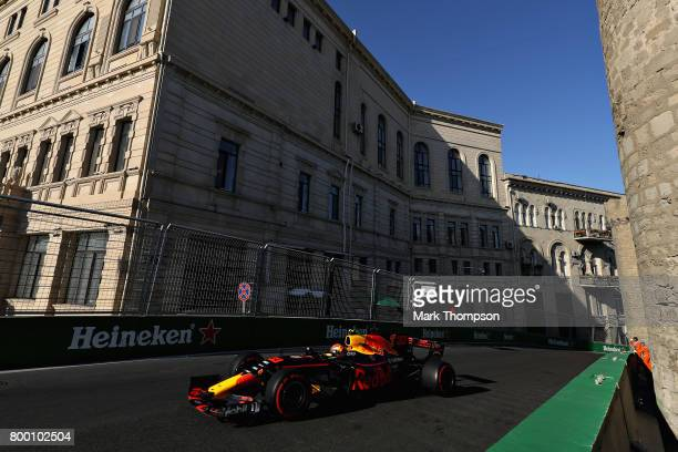 Max Verstappen of the Netherlands driving the Red Bull Racing Red BullTAG Heuer RB13 TAG Heuer on track during practice for the Azerbaijan Formula...
