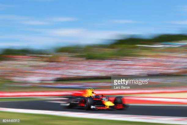 Max Verstappen of the Netherlands driving the Red Bull Racing Red BullTAG Heuer RB13 TAG Heuer on track during the Formula One Grand Prix of Hungary...