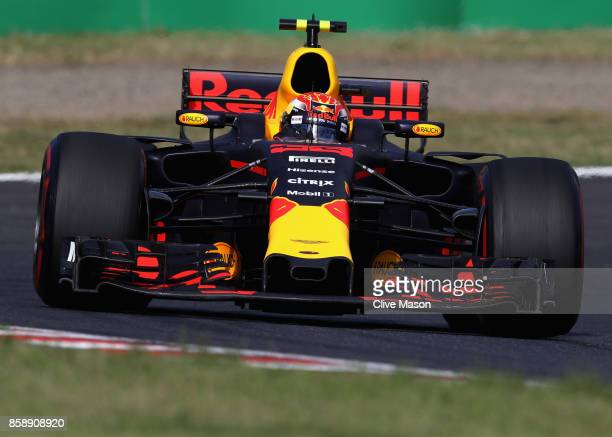 Max Verstappen of the Netherlands driving the Red Bull Racing Red BullTAG Heuer RB13 TAG Heuer on track during the Formula One Grand Prix of Japan at...